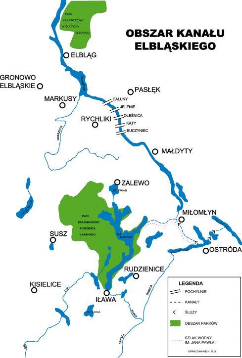 Mapa Kanału Elbląskiego
